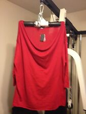 NWT! Red Drape Neck Sweater with Button Trim Size 3x