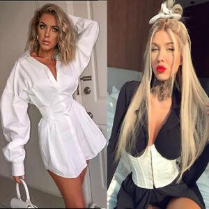 Women Long Puff Sleeve Tee Shirt Dress Belted Oversize Loneline Top Party Corset