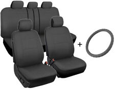 Car Seat Covers Front/Rear + Leather Steering Wheel Cover Universal Gray