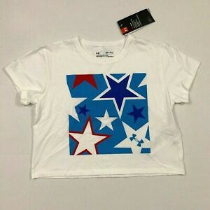 Under Armour NWT Size S M L XL Girl's Youth UA Cropped Top Americana Stars