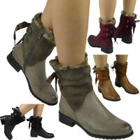 Womens Ladies Fur Lining Ribbon Lace Up Zip Low Heel Work Ankle Boots Shoes Size