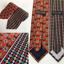 Marco Vidale Designer Silk Red Yellow Green Geometric Set of 2 Neckties Ties