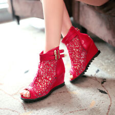 Womens Open Toe Lace Wedge Heel Ankle Boot Leather Candy Roma Shoes Plus Size