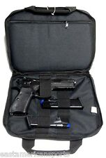 Black Dual Double Pistol Handgun Soft Carry Case Bag Holds 2 Gun + Mags Range