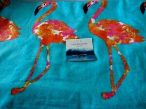 "Cynthia Rowley Flamingos Towel 36"" x  70"" Oversize for Bath Beach Pool Gym"