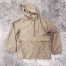 Gucci Windbreaker Jacket Half Zip Monogram GG Beige Brown Foldable Bag RARE S