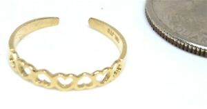 10KT GOLD ADJUSTABLE OPEN REVERSED HEARTS TOE RING - GIFT BOX - FREE SHIPPING!