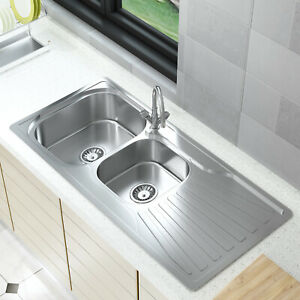 Stainless Steel Home Kitchen Sink Catering Single Double Bowl Drainer Kit