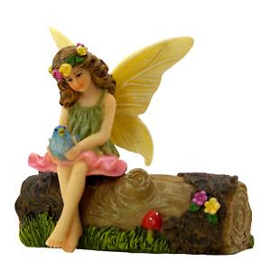 Fairy Garden Fairy Figurine Accessories - Fairy Vicky on a Log