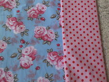 Baumwollstoff  Hell-türkisblau m roten Rosen 140 X 20 cm neu wie Rosalie v Ikea