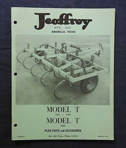 "1959-1960 JEOFFROY MFG AMARILLO TX ""MODEL T PLOW"" PARTS CATALOG MANUAL VERY NICE"