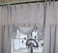 Raff Gardine CRYSTAL NY GRAU 140x90 Spitze bestickt LillaBelle Landhaus Curtain