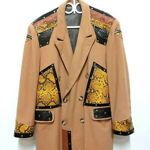 Burning Man Upcycled Punk Hip-hop Rock Upcycled 80s Wool Coat Custom Chest 52""