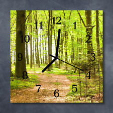 Glass Wall Clock Kitchen Clocks 30x30 cm silent Forest Green