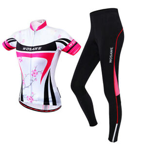 Ladies Cycling Set Long Sleeve Jersey Padded Pant Suit Cycle Shirt Trouser Women