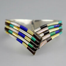 Vintage Multi-Stone Striped Mexico Clamper Sterling Silver Taxco Bracelet