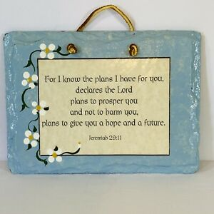 Hand Painted Stone Slate Scripture Jeremiah 29:11 Plain Jane Sign Wall Decor