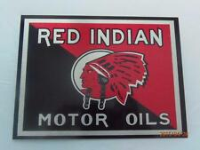 """RED INDIAN MOTOR OIL METAL WALL PLAQUE / SIGN 8"""" X 6"""" WITH FIXING PADS"""