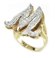 """Fancy .30 CT Diamonds in 14k Two-Tone Gold """"Initial M"""" initial  Ring"""