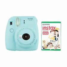 Fujifilm Instax Mini 9 fotocamera BUNDLE * 30 scatti * CASE * FILM ALBUM * - Ice Blue