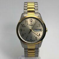 Timex Mens Indiglo T2M935 Dual Tone Day Date Indicator Quartz Analog Wristwatch