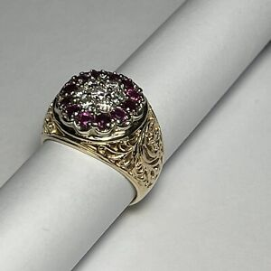 Men's / Woman's 3/4 ct Diamond & 3/4 ct Ruby Filigree 14k  Gold Ring