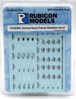 Rubicon 130008 German Heavy Panzer Battalion Set #1 (Decal Sheet) WWII Tanks NIB
