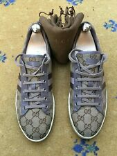 Gucci Womens Shoes Beige Brown Canvas Trainers Sneaker UK 8 US 10 41 Ladies Web