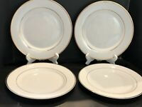 Set of 4 Gibson Everyday Housewares White Dinner Plates With Gold Trim