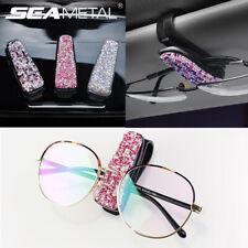 Crystal Car Sun Visor Glasses Sunglasses Card Ticket Holder Clip Universal Pink