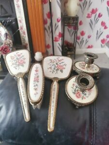 Vintage Regent of London Petit  Point  Vanity/Dressing Table Set + Candlesticks