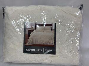 New Martha Stewart Chenille Medallion Ivory Full Queen Bedspread Coverlet Cotton
