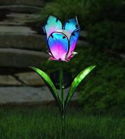 Glass Solar Powered LED Tulip Flower Stake Light Coloured Garden Outdoor Patio