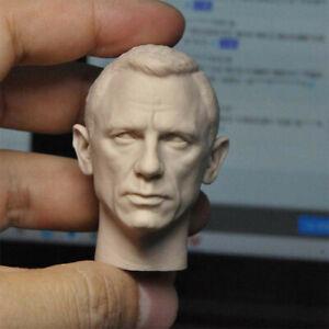 """Blank 1/6 Scale James Bond Daniel Craig Head Sculpt Unpainted Fit 12"""" Figure"""