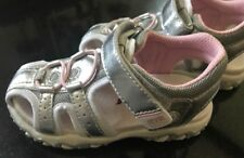 Silver Leather and Pink  Closed Toe Sandals NEW -Little-Girls Size 9 M  SALE!