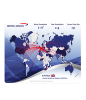 British Airways World Route Map / Net Work Map Mouse Mat