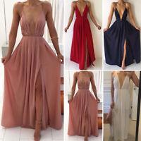 Hot Sexy Deep V Neck  Long Evening Gown Backless Split Maxi Dress For Women