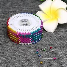 120pcs Colorful Pearl Round Corsage Pins Dress Making Floral Heads Craft Box
