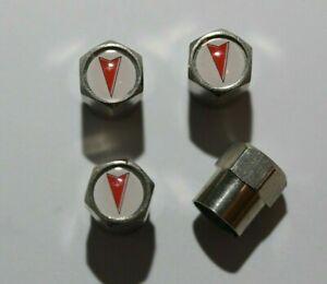 Pontiac White Tire Valve Stem Caps Wheel - Plus Free Extra Cap - Total 5 Caps
