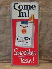 Vintage Viceroy Cigarettes Embossed Metal Sign > Antique Cigar Tobacco 9950