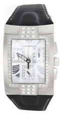 Techno Marine Mens Silver Dial Black Leather Band Diamond Watch XSCM 00336 34mm
