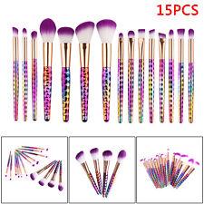 15 Pcs Unicorn Makeup Brushes Diamond Powder Foundation Eyeshadow Brush Set US