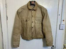 VINTAGE LEVI'S DISTRESSED LEATHER TRUCKERS JACKET SIZE XL
