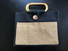 ECO Friendly Nero & Marrone Chiaro Borsa di tela di iuta con manici bamboo stile & Fodera Marrone Chiaro.