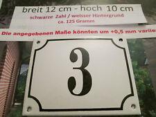 Hausnummer Emaille Nr. 3 schwarze Zahl auf weißem Hintergrund 12 cm x 10 cm