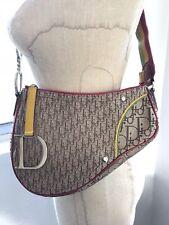 c2a669926b45 Authentic Christian Dior Trotter Saddle Shoulder Bag Rasta Color Vintage  AK27582