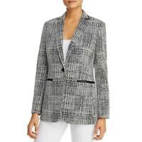 Karl Lagerfeld Paris Womens B/W Tweed One-Button Blazer Jacket 4 BHFO 9302