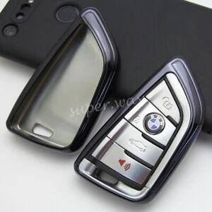 For BMW 2/3/5/6/7/M5/X1/X2/X3/X4/X5/X6/X7 Black Car Smart Key Case Cover Holder