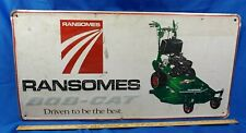 "Ransomes Sign Bob-Cat Lawnmower Graphics Tractor Farm Gas Oil 36"" Embossed Metal"