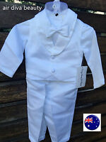 Boys baby children white Long sleeves christening shower outfits suits hat set